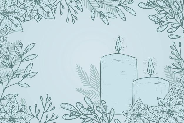 손으로 그린 크리스마스 촛불 배경 무료 벡터