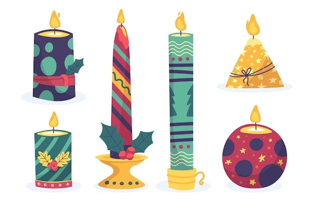 손으로 그린 크리스마스 촛불 컬렉션 무료 벡터