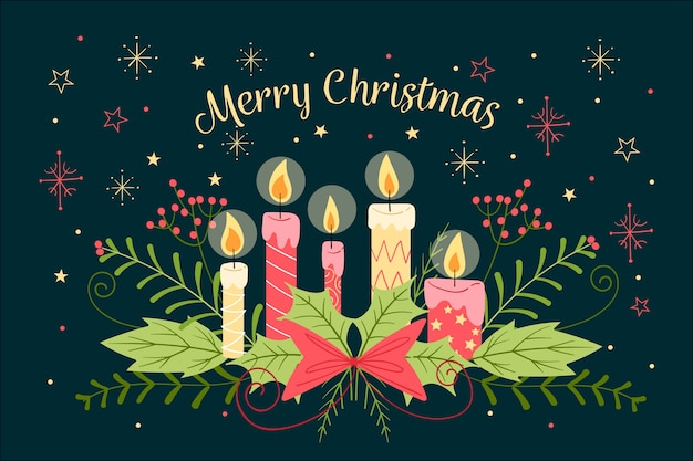 Hand Drawn Christmas Candle Wallpaper Vector Free Download