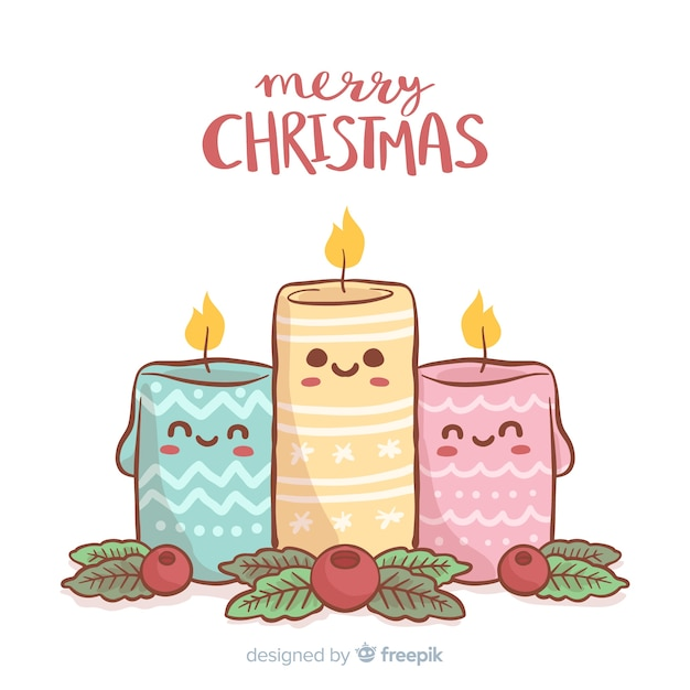 Hand drawn christmas candles background Free Vector