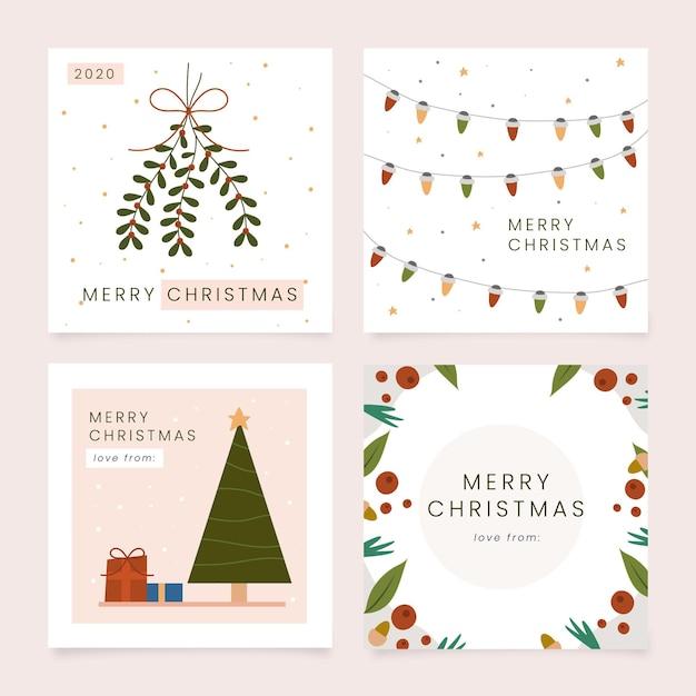 手描きのクリスマスカードコレクション Premiumベクター
