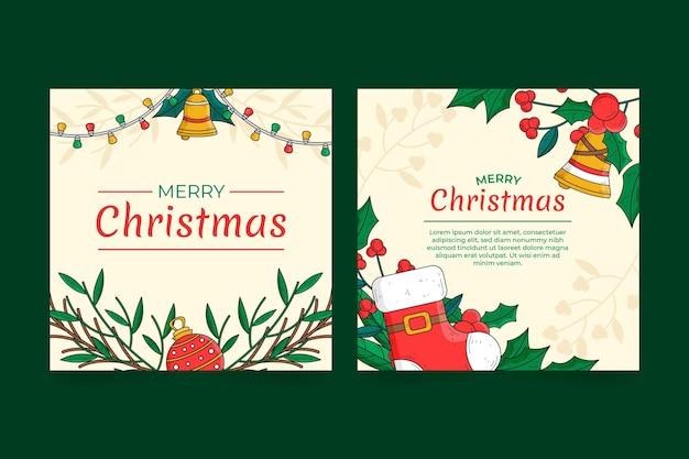 Collezione di cartoline di natale disegnate a mano Vettore gratuito