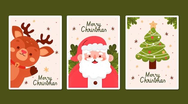 손으로 그린 크리스마스 카드 컬렉션 무료 벡터