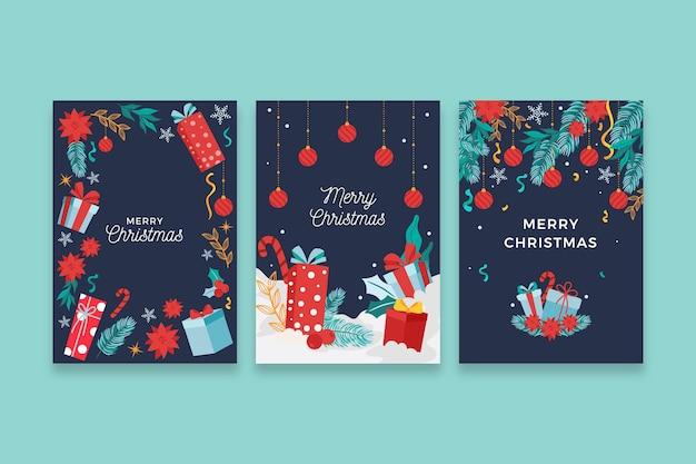手描きのクリスマスカードの概念 無料ベクター