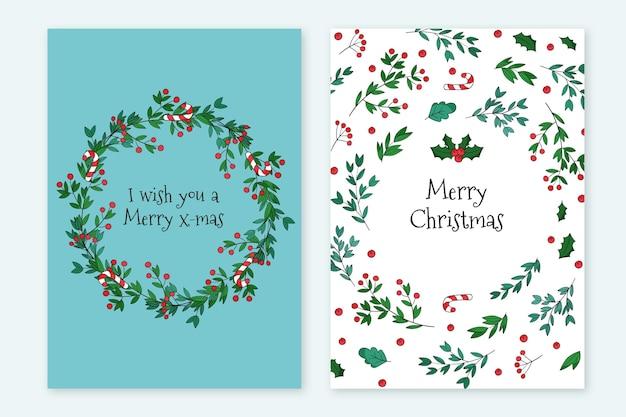 手描きのクリスマスカードテンプレート 無料ベクター