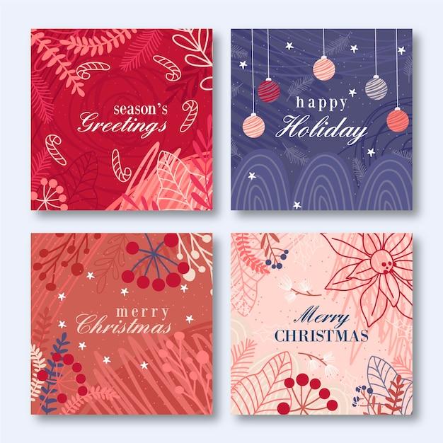 Modello di cartoline di natale disegnati a mano Vettore gratuito