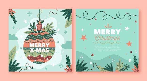 손으로 그린 크리스마스 카드 무료 벡터
