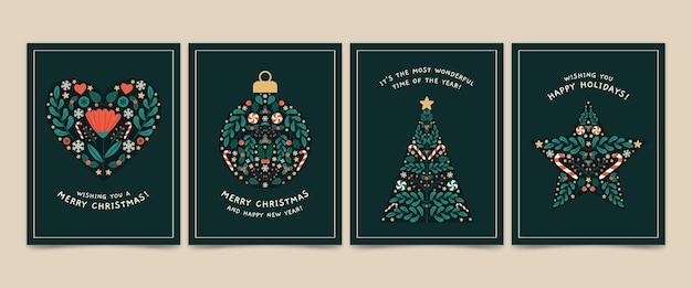 Рождественские открытки рисованной Бесплатные векторы