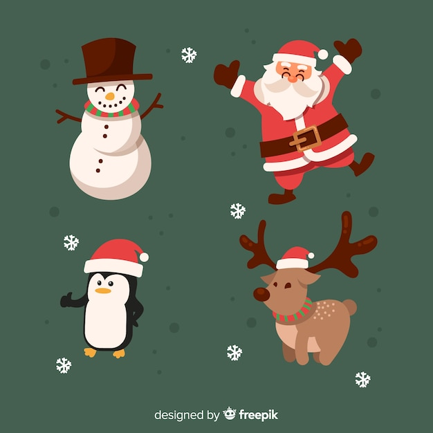 Hand drawn christmas characters collection Free Vector