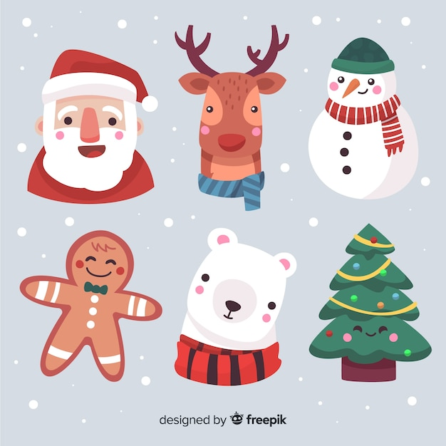 Hand drawn christmas characters faces collection Free Vector