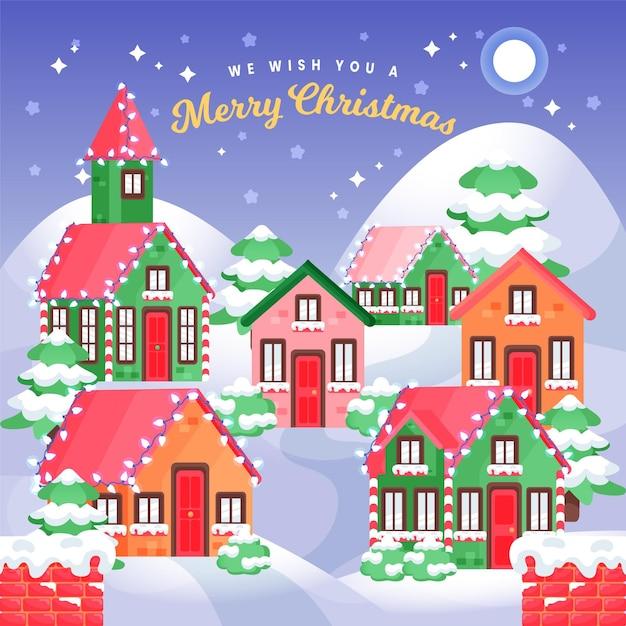 Ручной обращается рождественский город ночью Бесплатные векторы