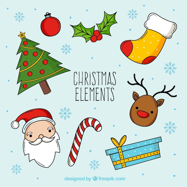 Hand drawn christmas collection Free Vector