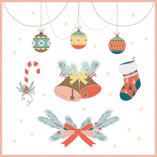 Collezione di decorazioni natalizie disegnate a mano Vettore gratuito