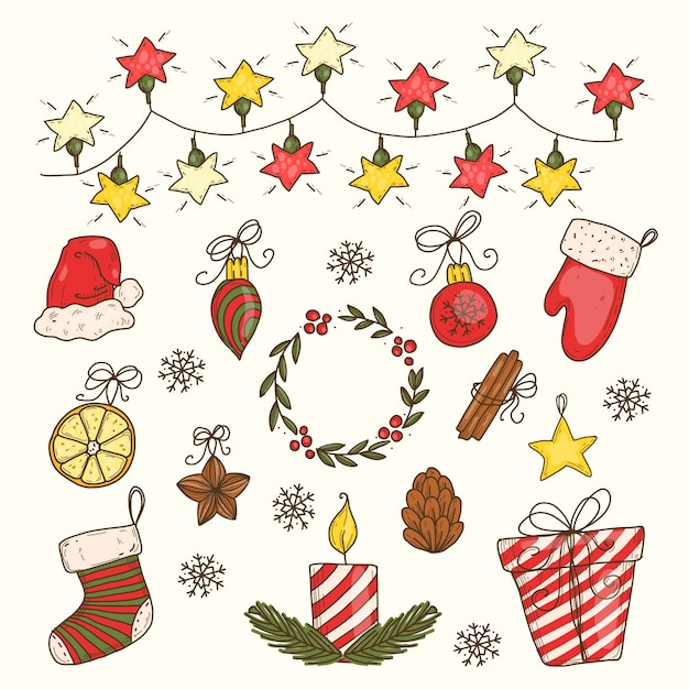 Hand drawn christmas decoration pack Free Vector