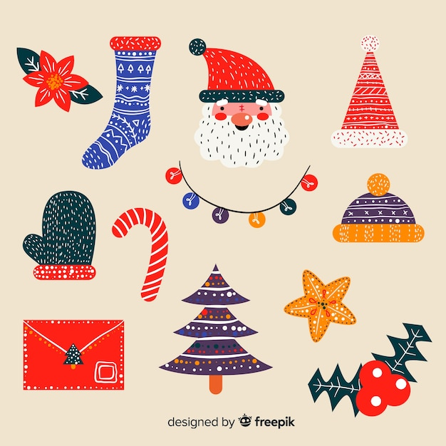 Christmas Toppers For Cupcakes.Hand Drawn Christmas Decoration Vector Free Download