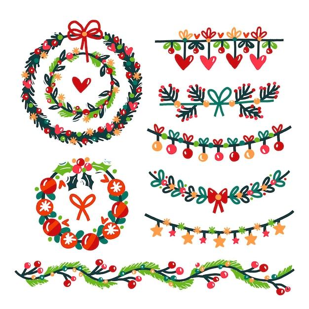 手描きのクリスマスの装飾 無料ベクター
