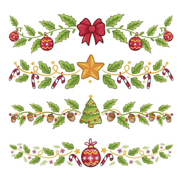 Hand drawn christmas decorations Free Vector