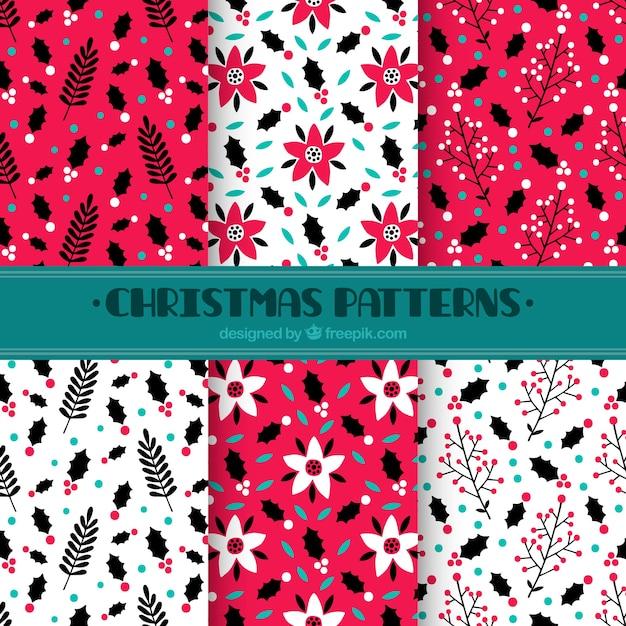 Hand drawn christmas decorative patterns