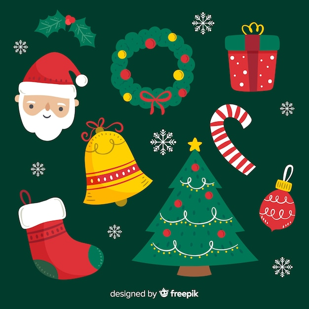 Hand drawn christmas element collection Free Vector