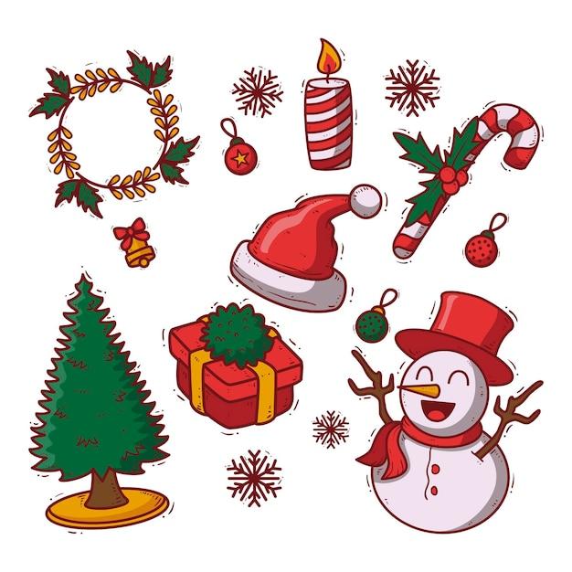 Коллекция рисованной рождественских элементов Бесплатные векторы