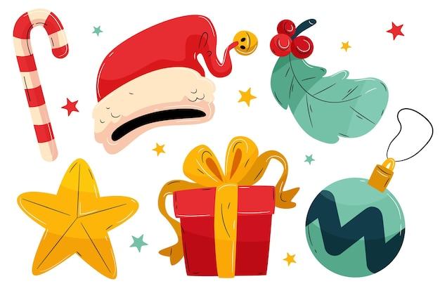 手描きクリスマス要素コレクション 無料ベクター