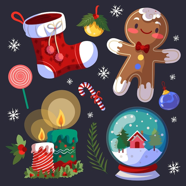 Hand drawn christmas element collection Premium Vector