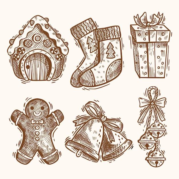 Коллекция рисованной рождественских элементов Premium векторы