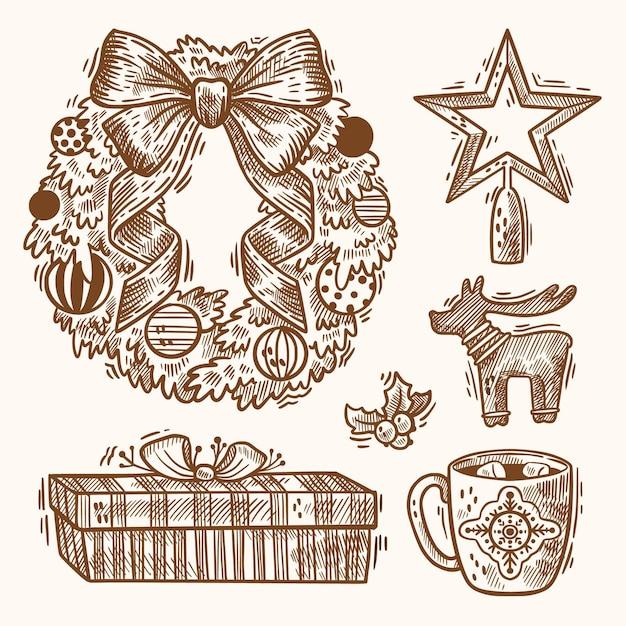 Набор рисованной рождественский элемент иллюстрации Бесплатные векторы