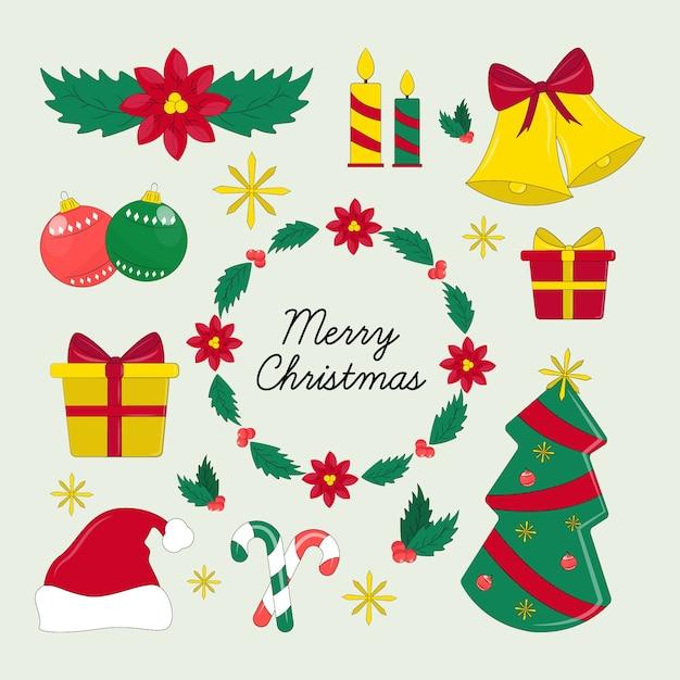 Набор рисованной рождественских элементов Бесплатные векторы