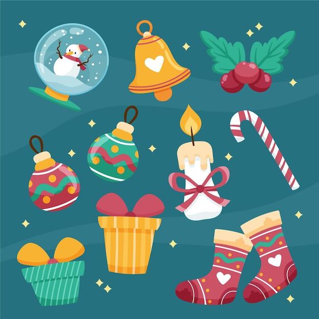 Набор рисованной рождественский элемент Бесплатные векторы