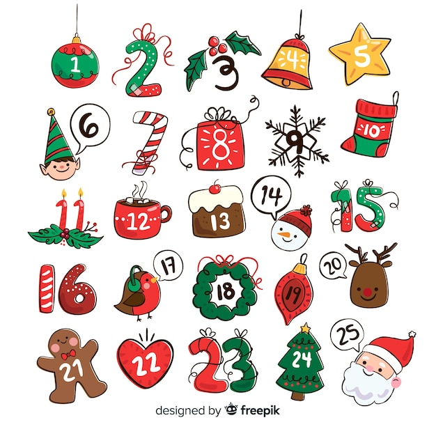 Hand drawn christmas elements advent calendar Free Vector