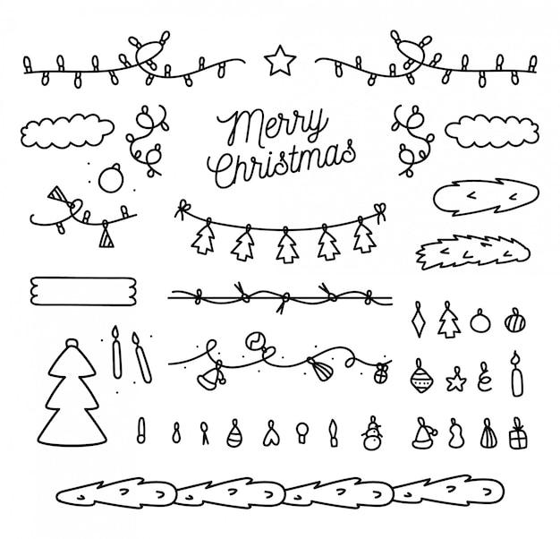 Ручной обращается рождественские элементы коллекции Бесплатные векторы