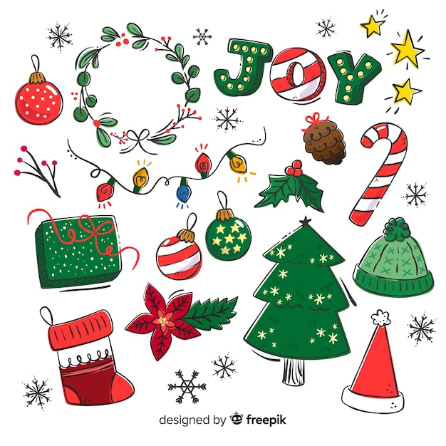 Hand drawn christmas elements collection Free Vector