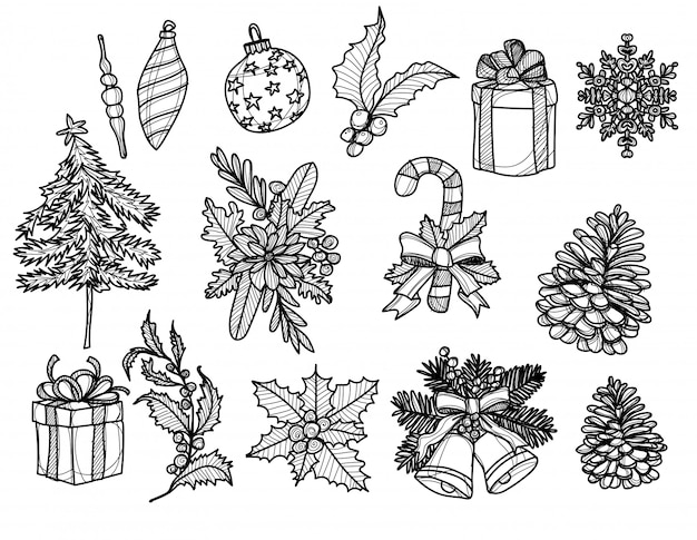 Hand drawn christmas elements, gift, candy cane, pine cone sketch black and white Premium Vector