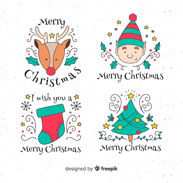 Hand drawn christmas elements label collection Free Vector