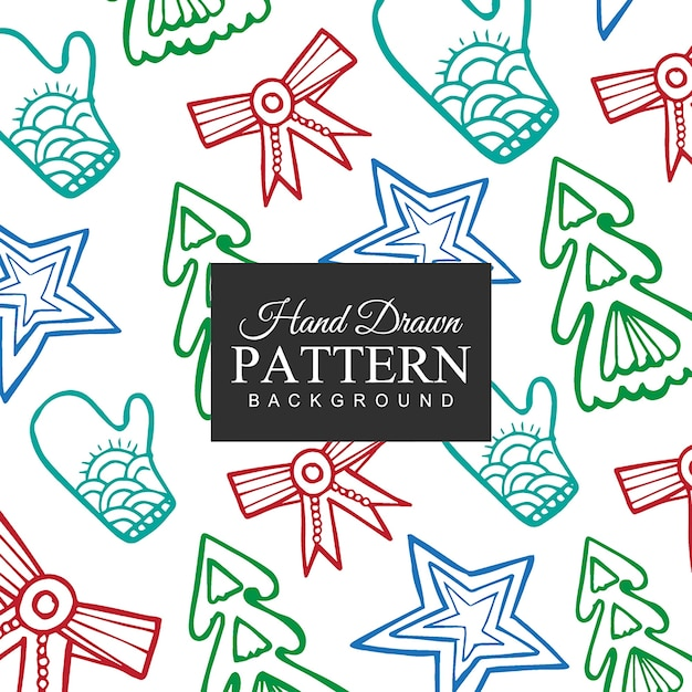 Hand drawn Christmas Elements Pattern Free Vector