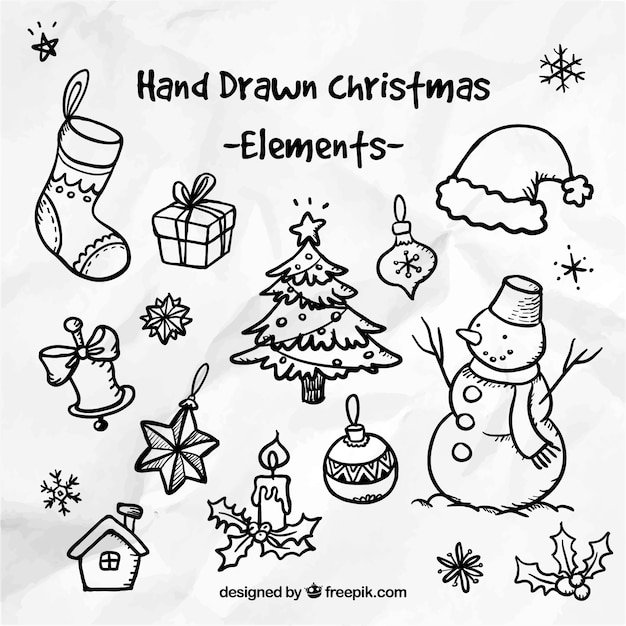 Hand drawn christmas elements Free Vector