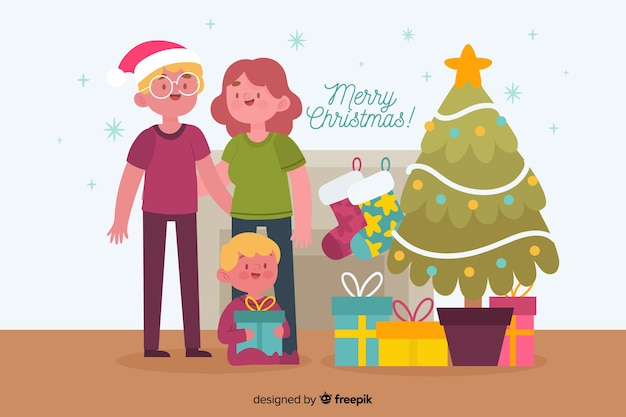 Hand drawn christmas family background Free Vector