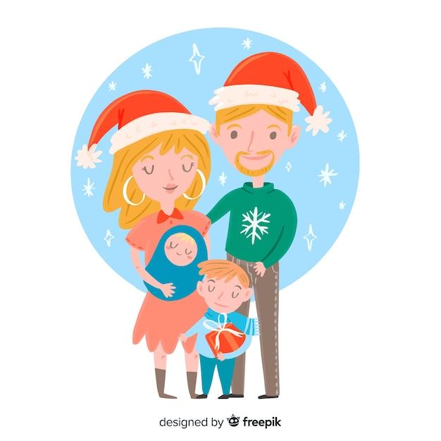 Hand drawn christmas family scene Free Vector