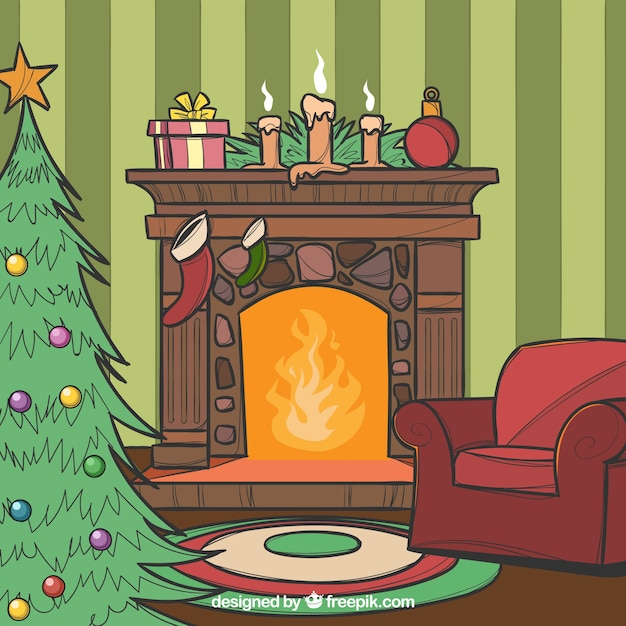 Christmas Fireplace Scene Clipart.Christmas Fireplace Scene