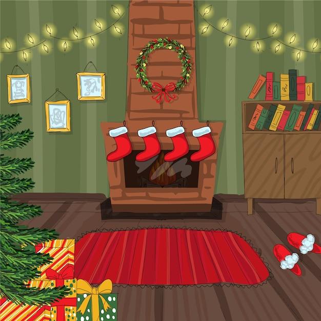 Hand drawn christmas fireplace scene Free Vector