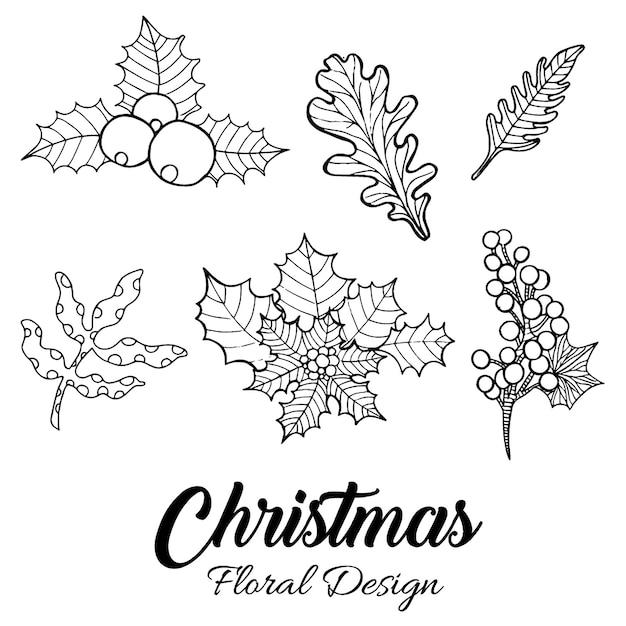 손으로 그린 크리스마스 꽃 디자인 무료 벡터