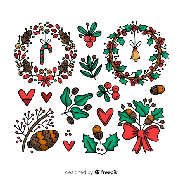 Hand drawn christmas flower wreath collection Free Vector