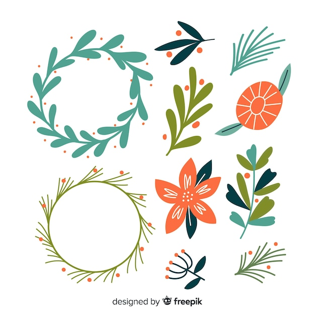Hand drawn christmas flower & wreath pack Free Vector
