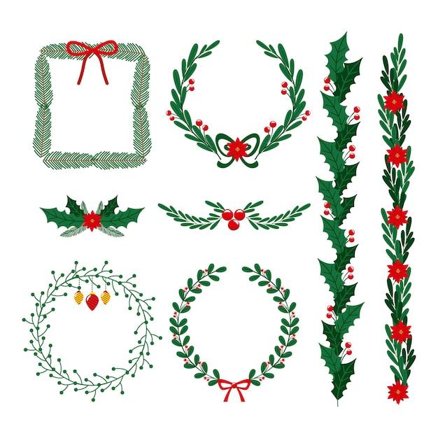 손으로 그린 크리스마스 프레임 및 테두리 컬렉션 무료 벡터