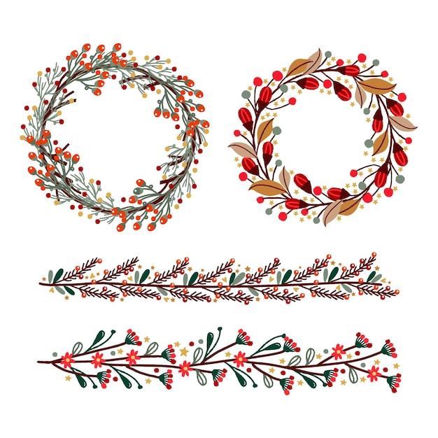 Рождественские рамки и бордюры Premium векторы