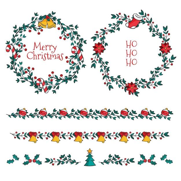 손으로 그린 크리스마스 프레임 및 테두리 무료 벡터