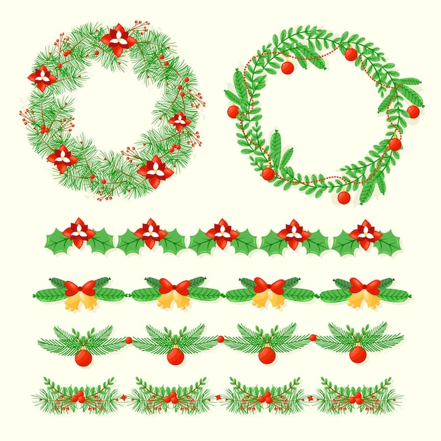 Рождественские рамки и бордюры Бесплатные векторы