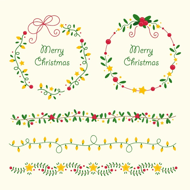 Hand drawn christmas frames and borders collection Free Vector