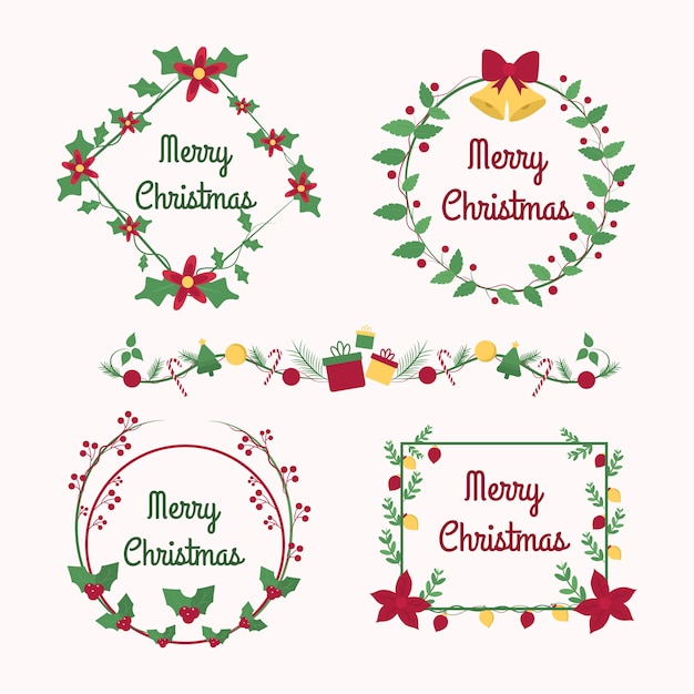 Hand drawn christmas frames and borders Free Vector